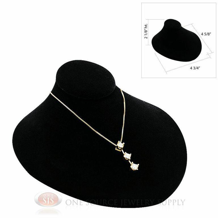 "Black Velvet Lay-Down Pendant Necklace Neckform Jewelry Bust 4 3/4""W x 4 5/8""D"