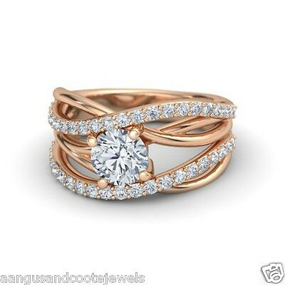 2.00ct Brilliant Cut 14kt Solid Diamond Engagement Ring Rose Gold Prong Set
