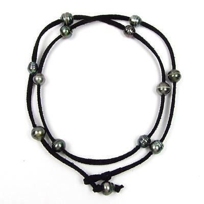 "32"" Baroque Tahitian Pearl Black Cord As Bracelet, Anklet or Necklace"