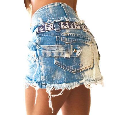heller Jeans Rock Vintage Risse Totenkopf Nieten 30 32 Mädchen kleine Damen