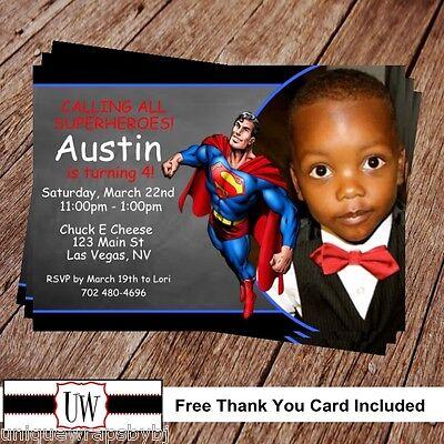 Superman Superhero Birthday Invitation Printable Photo Super Hero Party DIY