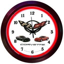 Chevrolet Corvette Flags C5 neon clock sign Dads Garage Mancave wall lamp light