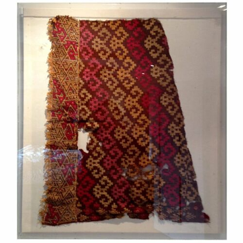 Framed Pre-Columbian textile fragment from Peru