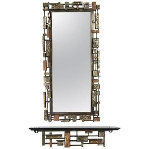 Brutalist Paul Evans Style Mirror and Console Set