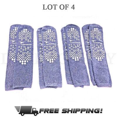 Double Sided Slipper Socks, Non Skid Hospital Travel Slipper Socks XL 4 Pairs G