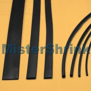 Heat Shrink Tubing 7 x 1m Black Tube Sleeving Kit Pack
