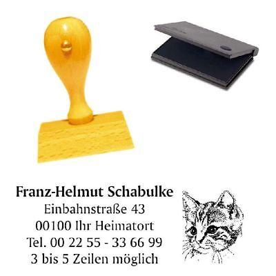 Adressenstempel « KATZE 5 » mit Kissen - Firmenstempel - Haustier Kater Tierhof