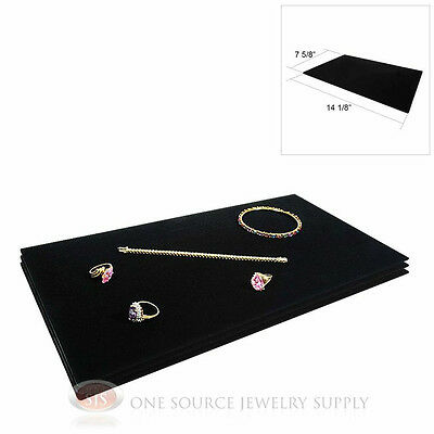 3 Black Plush Soft Velvet Jewelry Display Counter Display Pads Tray Liners