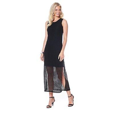 Mesh Emma Dress - NWT EMMA & MICHELE Navy Mesh Overlay Slit Midi Dress Style 11330 Sz.S  $72