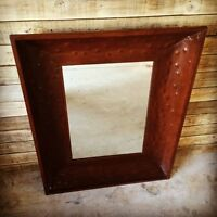 Large Rustic Tin Framed Mirror