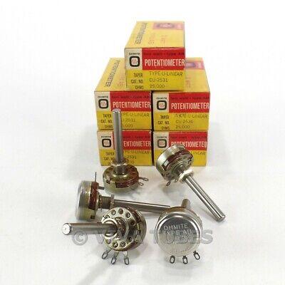 Nos Nib Vintage Lot Of 5 Ohmite Cu-2531 Type Ab Potentiometers 2w 25k Ohm