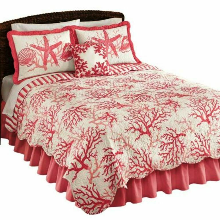 2 Pieces QUEEN QUILT SET Ocean Coral Reef Quilt & Bed Wrap R
