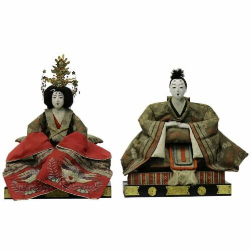 Gofun Meiji Period Hina Japanese Emperor and Empress Dolls with Provenance
