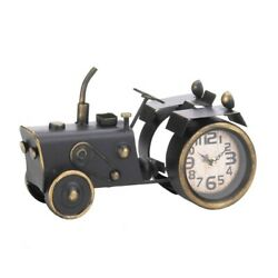 Tractor Desk Clock Vintage Design Large Clock Face Distressed Brass Finish