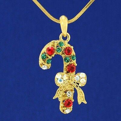 Candy Cane Bow W Swarovski Crystal Christmas Pendant Necklace Jewelry Gift