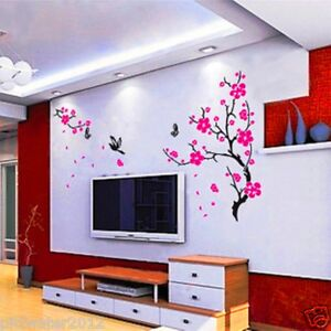 Pink Flowers Tree & Butterfly Removable Wall Sticker Home Decal Kids Girls Room