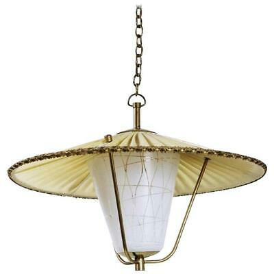 Midcentury Brass and Opaline Glass Lantern Pendant Light, Austria, 1950s