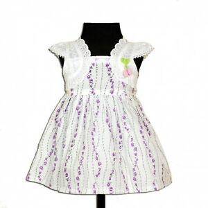 New Baby Girls Flower Cotton Dress in Lilac Pink 3 6 6 9 9