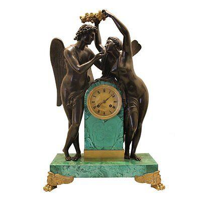 Superb circa 1828 Russian Empire Gilt Bronze Malachite Clock-Makers Mark-Proven.