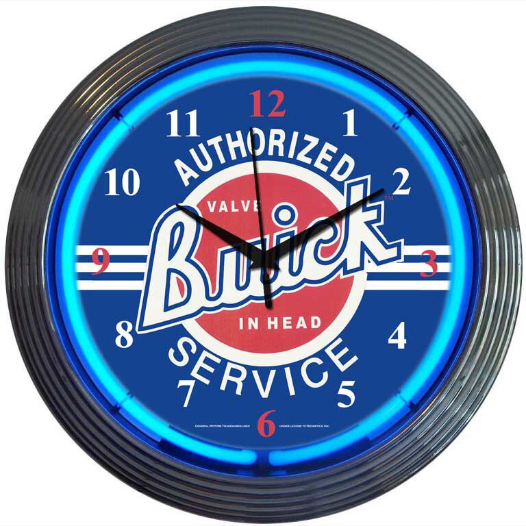 Authorized Buick Service Neon Clock hot rod garage sign mancave wall lamp