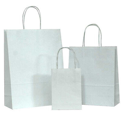 White Small Kraft Paper Bags Shopping Handle Wedding Party Gift Bag-5.25x3.75x8