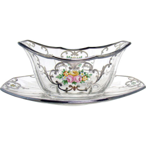 Enameled Glass Finger Bowl and Under-plate with Sterling Overlay - 1900