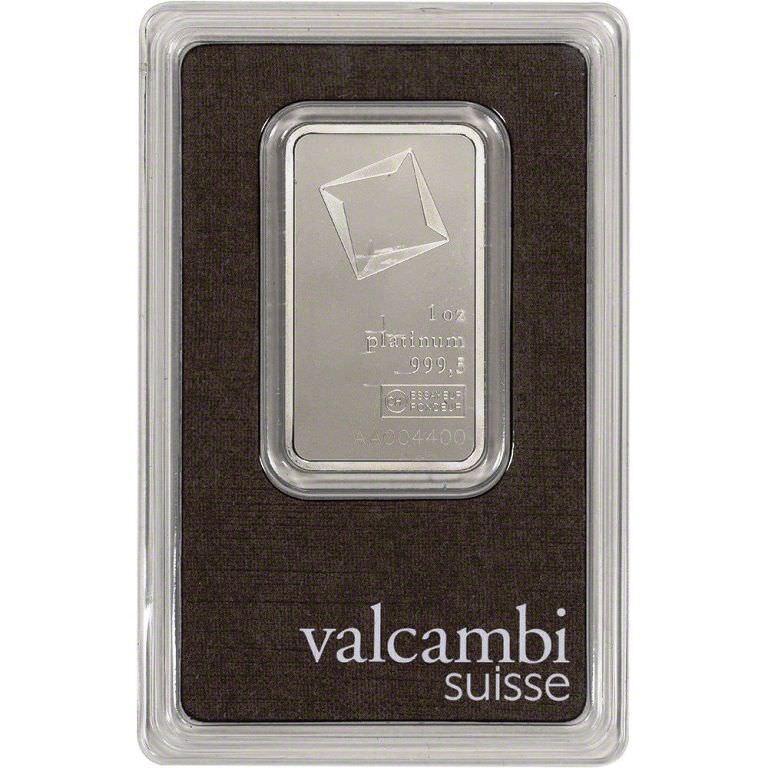 1 oz. Platinum Bar - Valcambi Suisse - 999.5 Fine in Assay Serial # AA081069