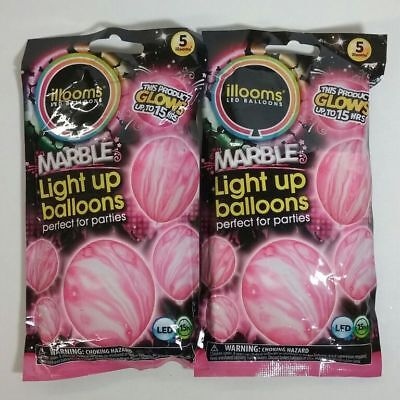 Pink Led Balloons (illooms Pink Marble LED Balloons (2 packs of)