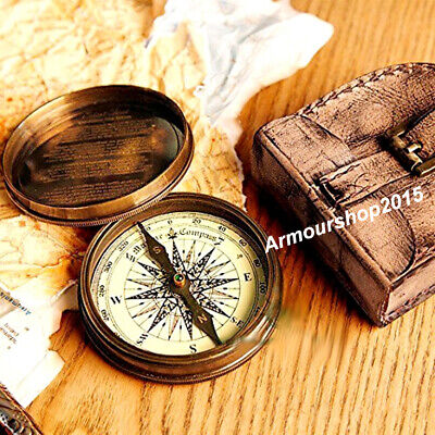 Compass On Chain (Nautical Brass Compass On Chain with Brown Leather Case,)