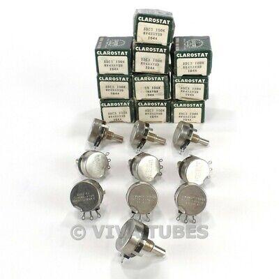 Nos Nib Vintage Lot Of 10 Clarostat 53c3 S-taper Potentiometers 100k Ohm