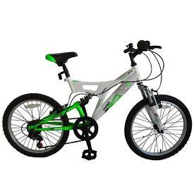 """20"""" Avigo Boys Boa Dual Suspension 6 Speed Bike in Neon Green and white"""