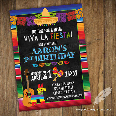 Fiesta Birthday Party Invitations / Culture Heritage PRINTED SET OF - Fiesta Party Invitations