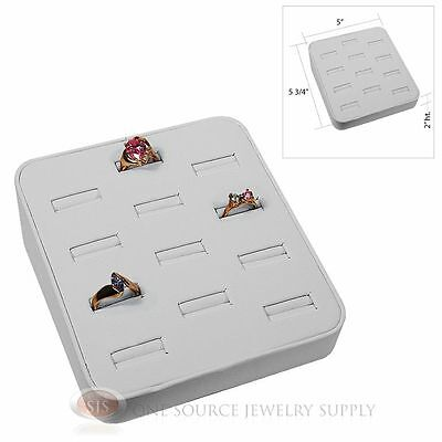 Ring Tray White Faux Leather 12 Slot Jewelry Display Showcase Display