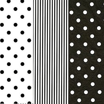 18 SHEETS~BLACK/WHITE TISSUE PAPER~GIFT WRAP-CRAFT~6 SHEETS Ea~20x30