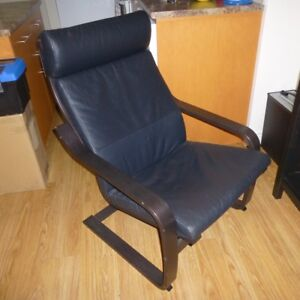 IKEA Poang wood chair with leather cushions