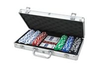 C Q poker set with 330 chips and CQ Poker 6-in-1 Games Set +CHIPS +ROULETTE + BLACKJACK