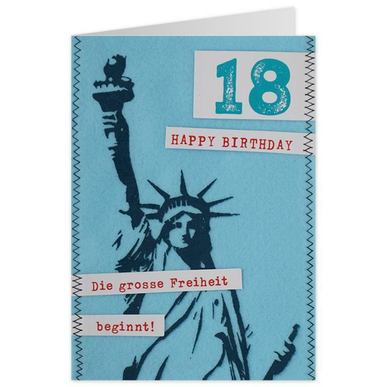 18 Jahre Karte Grußkarte Filz Anhänger Glückwunsch Geburtstag Karte Jubiläum