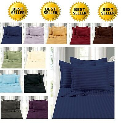 1500 Thread Count Sheet Set Dobby Stripe FULL,QUEEN,KING,CAL KING SIZE 10 COLORS