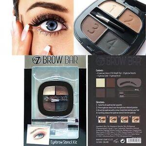 W7 Cosmetics Brow Bar - Eyebrow Stencil Kit Make Up Powder, Comb & Brush
