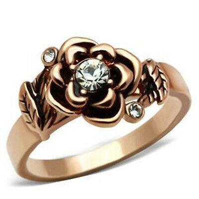 Flower April Clear Crystal Stone Rose Gold Plated Ladies Ring Jewelry Size 7-10