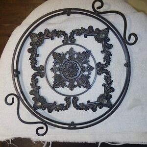 "14"" Wrought Iron serving tray with glass"