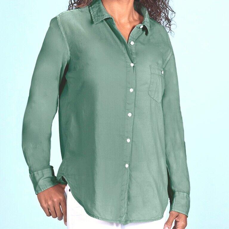 FRESH PRODUCE Medium Lagoon GREEN Saltwater Button Up Cotton Shirt $69 New NWT M