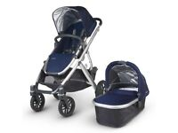 Used Uppababy Vista stroller /Carrycot blue