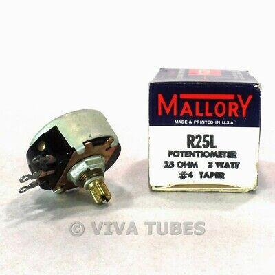 Nos Nib Vintage Mallory R25l Potentiometer 3 W 25 Ohm