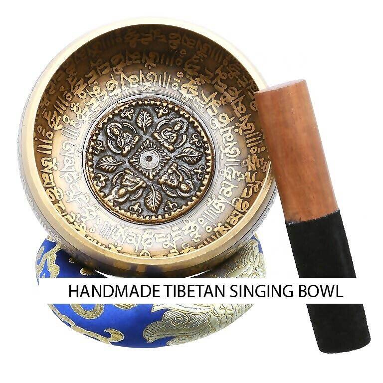 Handmade Tibetan Singing Bowl Set 5-inch, Meditation, Chakra, Yoga, Mantra
