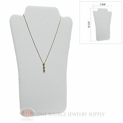 12 12 White Leather Padded Pendant Jewelry Necklace Display Easel Presentation