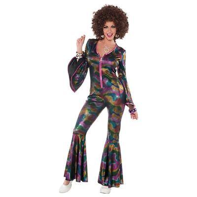 Adult Ladies 70s 80s Disco Diva Psychedelic Flares Jumpsuit Fancy Dress Costume