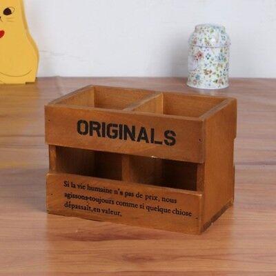 Vintage Wood Desk Pen Pencil Holder Office Stationery Organizer 2 Grids