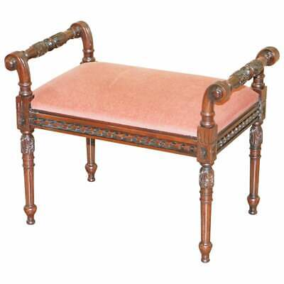 ORNATELY CARVED MAHOGANY VINTAGE REGENCY STYLE PIANO STOOL DRESSING TABLE BENCH