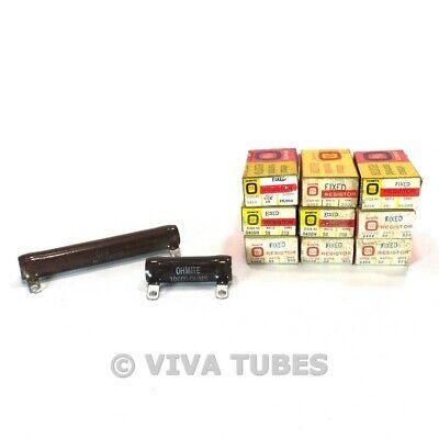 Lot Of 9 Nos Nib 25-50 Watt Vintage Ohmite Wire Wound Ceramic Resistors